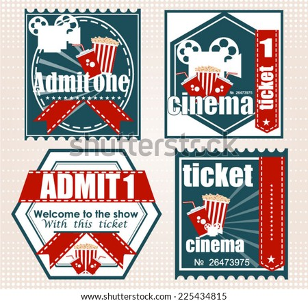 Design of cinema on a bright background, a vector illustration. Tickets Vectors  - stock vector