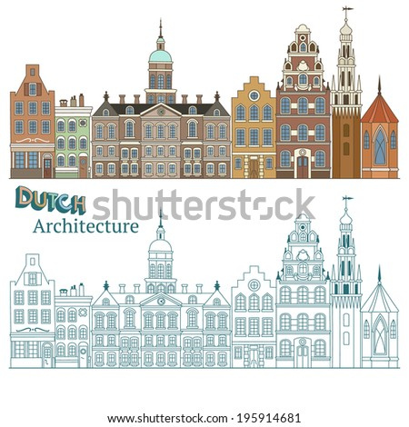 Design of Cityscape in Netherlands and Typical Dutch Architecture - stock vector