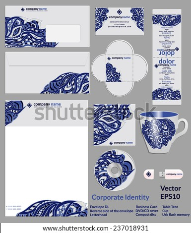 Design of corporate identity. Blue abstract doodles pattern for the company in the field of beauty, fashion and art. Vector illustration. - stock vector