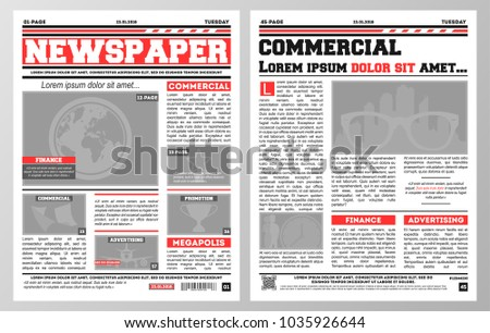 design daily newspaper template two pages stock vector 1035926644