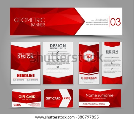 Design of flyers, banners, brochures and cards with red polygonal elements. Corporate Identity, Advertising printing. Vector illustration. Set - stock vector