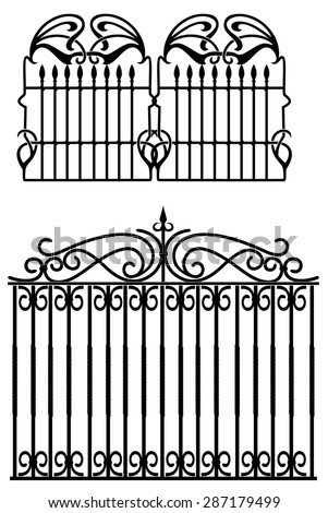 design of forged fences and gates - stock vector