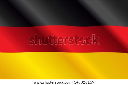 Design of German Flag Flying in the Wind - stock vector