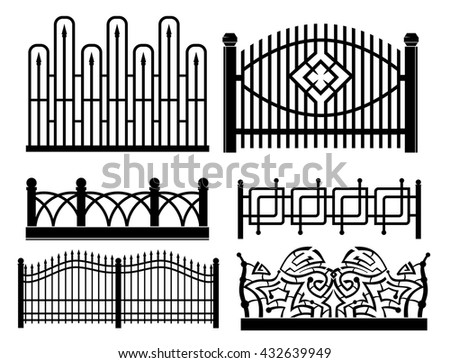 design of iron railings and fences - stock vector