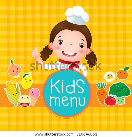 Design of kids menu with smiling girl chef over orange background  - stock vector