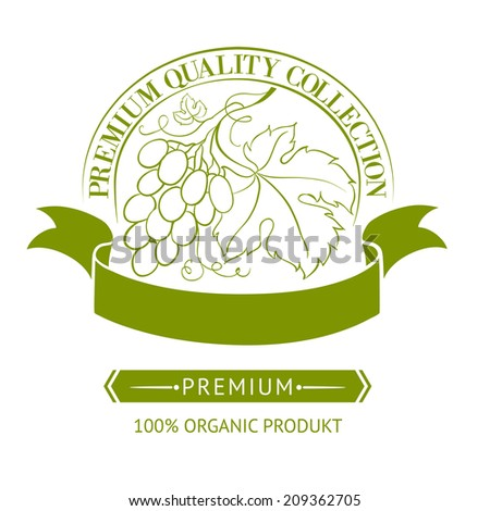 Design of label for wine with grapes. Vector illustration. - stock vector