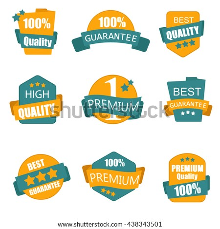 Design of labels, emblems and logos with a quality in a retro style.Collection of Premium and High Quality labels Vector illustration. - stock vector