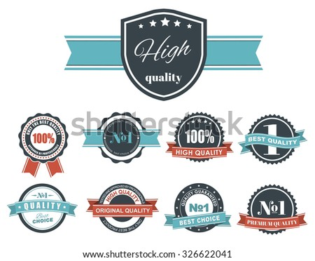 Design of labels, tags, logos blue retro style ribbons with signs of quality. Vector illustration. Set