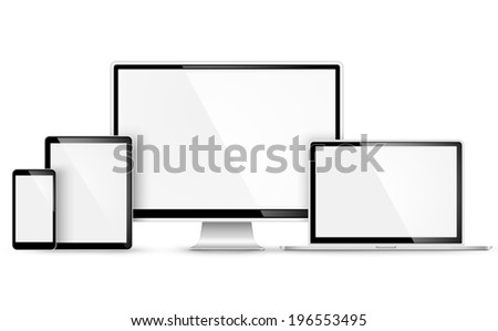 Design of modern devices on white background. Vector illustration - stock vector