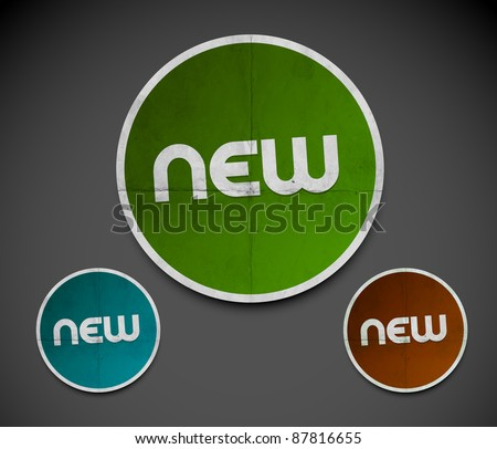 Design of New advertisement labels stamps stickers use. - stock vector