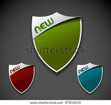 Design of shield labels stamps stickers use. - stock vector