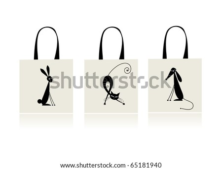 Design of shopping bag - bunny, cat and dog - stock vector