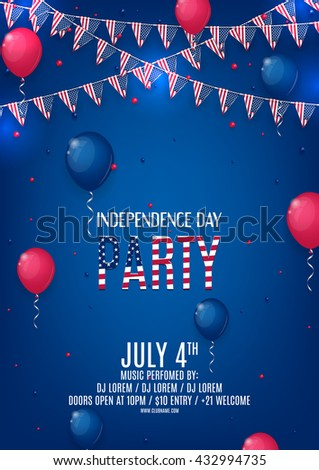 Design of the flyer of Independence Day party. Color background with air balloons and with a garland from American flags. American Independence Day celebration poster, vector illustration.
