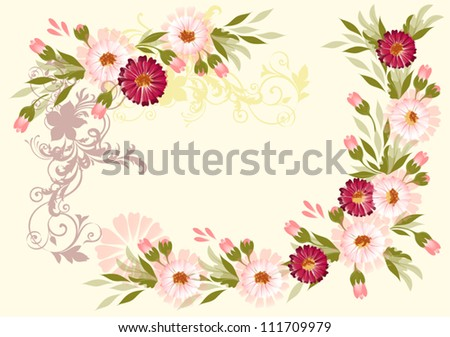 Design of vector flower  card in watercolor style. Vector watercolor - stock vector