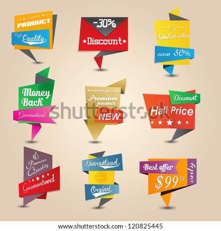 Design origami stickers set. Vector - stock vector