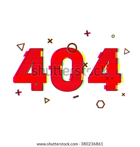 Design page 404 page not found. Error 404 red in glitch and noise style. banner design error page in red and vsh effect on a white background. Vector. - stock vector
