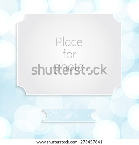 Design page template for the album. Frame for photo on blue watercolor with bokeh background - stock vector