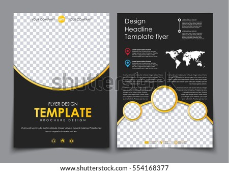 Design 2 Pages A4 Black Yellow Stock Vector 554168377 - Shutterstock