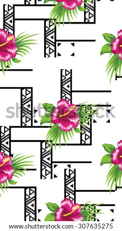 Design Pattern summer style with pink flowers.