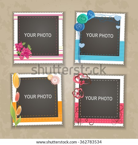 Delicieux Design Photo Frame On Nice Background. Decorative Template For Baby, Family  Or Memories.