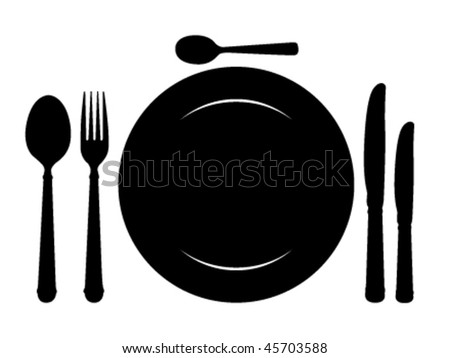 Design place setting with knives, plate, spoons and fork. Vector illustration. - stock vector