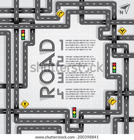 Design Road & Street Frame and Number, Travel Concept, Vector EPS10 - stock vector