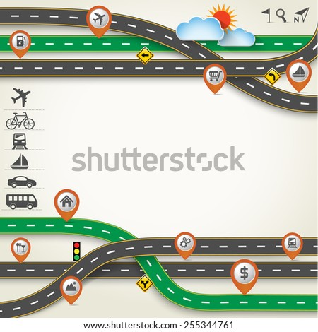 Design Road / Street Frame with Map Pointer and Transportation Icon Set, Travel Concept, Vector Template Background, Illustration EPS 10. - stock vector