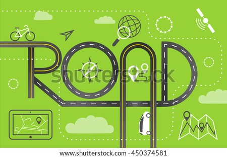 """Design Road & Street Template Background with Words """"Road"""" and Map Pointer Icon Set, Vector EPS10. - stock vector"""