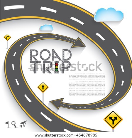 """Design Road & Street Template Background with Words """"Road Trip"""" and Map Pointer Icon Set, Vector EPS10. - stock vector"""
