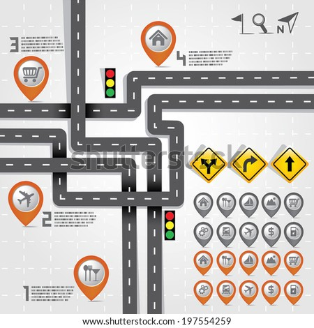 Design Road & Street with Map Pointer - Marker Icon Set, Travel Concept, Vector EPS10 - stock vector