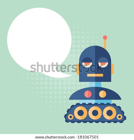 Design robot says something. - stock vector