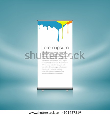Design roll-up display front colorful dripping design. vector illustration - stock vector
