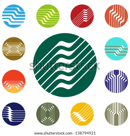Design round vector logo template.Global world icon set. Colorful pattern. You can use in the construction, factories, communications, electronics, agriculture, or creative design concepts - stock vector