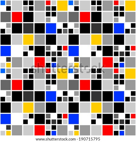 Design seamless colorful mosaic pattern. Abstract square geometric background. Vector art - stock vector