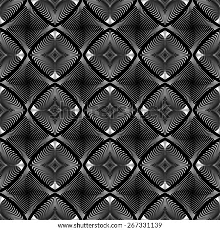 Design seamless diamond striped geometric pattern. Abstract monochrome waving lines background. Vector art. No gradient - stock vector