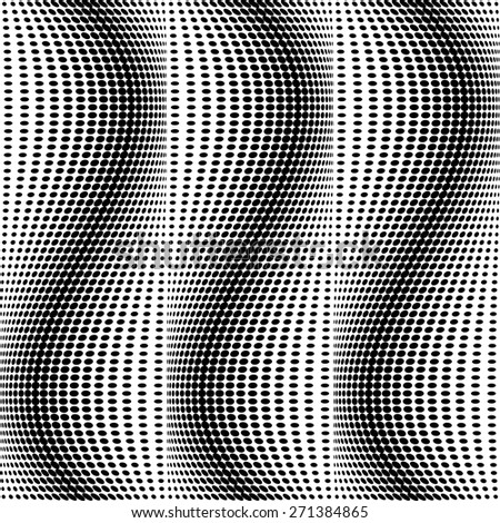 Design seamless monochrome dots pattern. Abstract waving background. Vector art. No gradient - stock vector
