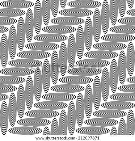 Design seamless monochrome ellipse geometric pattern. Abstract diagonal stripy background. Vector art - stock vector