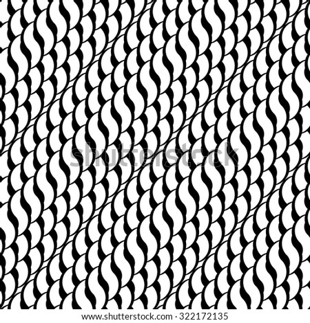 Design seamless monochrome interlaced pattern. Abstract diagonal stripy background. Vector art - stock vector
