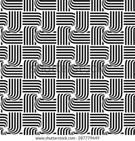 Design seamless monochrome interlaced pattern. Abstract stripy background. Vector art