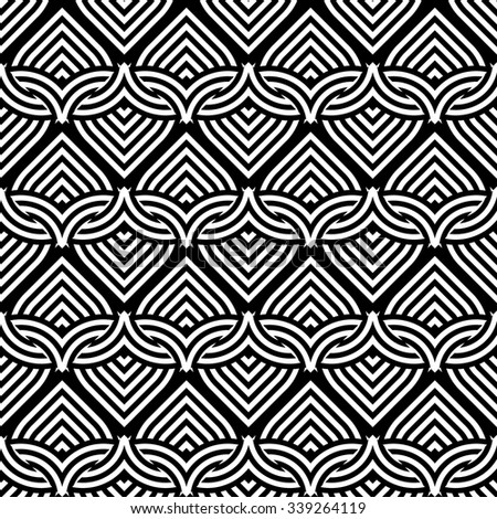 Design seamless monochrome interlaced pattern. Abstract stripy zigzag background. Vector art - stock vector