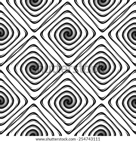 Design seamless monochrome labyrinth pattern. Abstract geometric twisted background. Vector art - stock vector