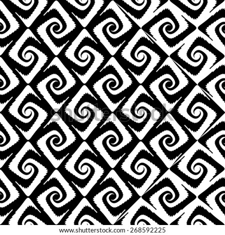 Design seamless monochrome spiral movement pattern. Abstract whirl background. Vector art - stock vector