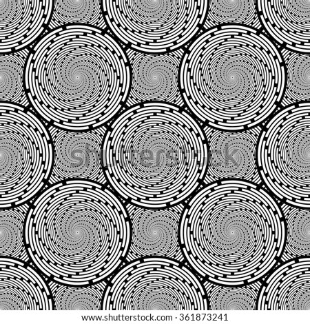 Design seamless monochrome twirl movement background. Abstract decorative pattern. Vector art. No gradient - stock vector