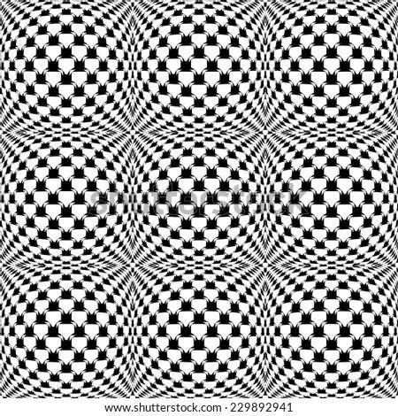 Design seamless monochrome warped grid pattern. Abstract latticed textured background. Vector art - stock vector