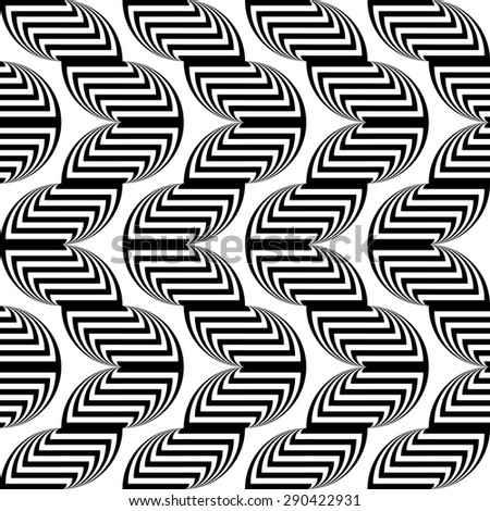 Design seamless monochrome waving geometric pattern. Abstract stripy background. Vector art - stock vector