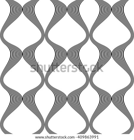 Design seamless monochrome waving pattern. Abstract vertical background. Vector art - stock vector