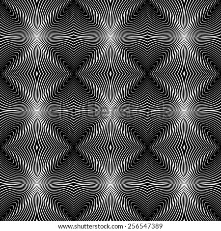 Design seamless monochrome whirl lines background. Abstract striped distortion twisted pattern. Vector art. No gradient - stock vector