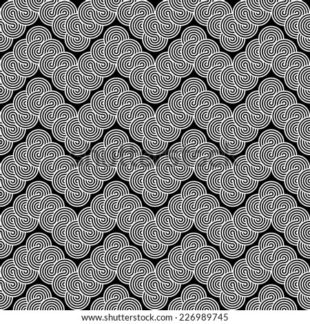 Design seamless monochrome zigzag lacy pattern. Abstract stripy waving background. Vector art - stock vector
