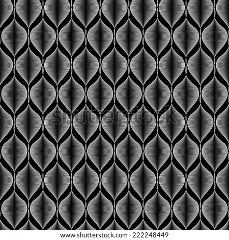 Design seamless monochrome zigzag wave pattern. Abstract stripy background. Vector art - stock vector