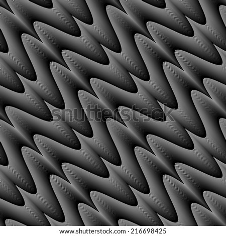 Design seamless monochrome zigzag wave pattern. Abstract stripy diagonal background. Vector art. No gradient - stock vector